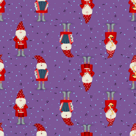 Seamless pattern musician Santa Claus in red coat, musician with musical instruments and note on blue background. Christmas party, jazz band, illustration for fabric, textile, wrapping paper or web