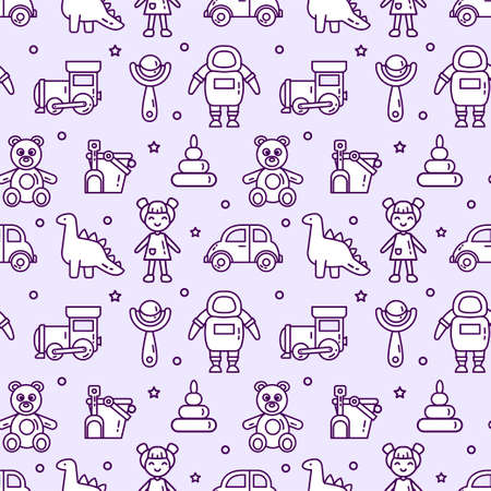 Seamless pattern set of isolated linear icons. Baby toys vector illustration for textile, wrapping and web Ilustração