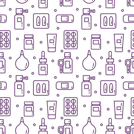 Seamless medical pattern on a light background flat line. Means of treatment of diseases and packaging of medicines isolated. Vector illustration for textile, wrapping and web