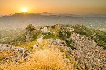 Mountain town Caltabellotta  Sicily, Italy  in the morning  Church of San Salvatore