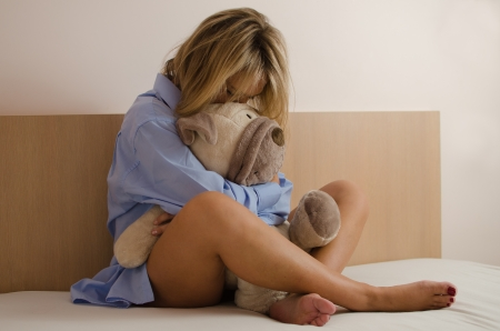 Young woman in depression photo