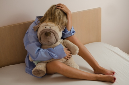 Young woman in depression Stock Photo