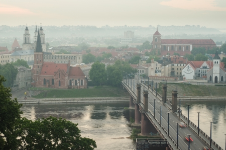Lithuania  Kaunas Old Town in the fog  View from Aleksotas Hill