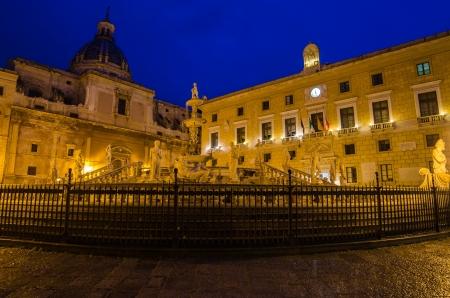 Piazza Pretoria in Palermo, Sicily, Italy  Early morning