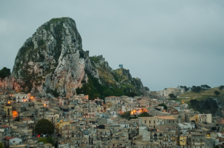 Mountain town - Caltabellotta  Sicily, Italy  at night Stock Photo - 21718012