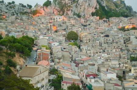 caltabellotta: Mountain town - Caltabellotta  Sicily, Italy  at night
