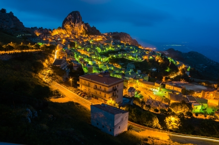 Mountain town - Caltabellotta  Sicily, Italy  at night photo
