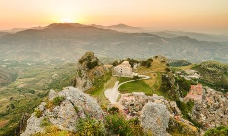 Mountain town Caltabellotta  Sicily, Italy  in the morning