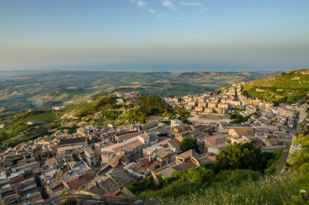 Mountain town Caltabellotta  Sicily, Italy  in the morning photo
