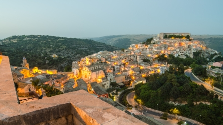 Ragusa Ibla  Sicily, Italy  in the evening photo