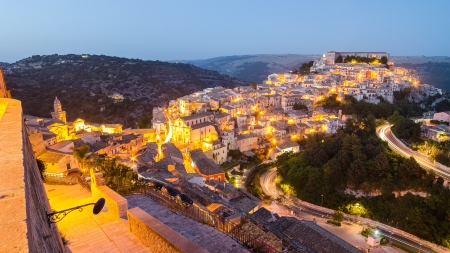 Ragusa Ibla  Sicily, Italy  in the evening 스톡 콘텐츠