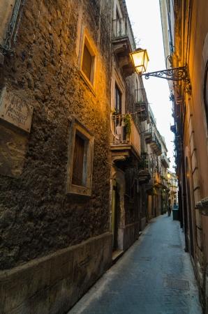 Narrow street in Syracuse, Sicily, Italy