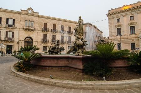 Archimede Square –Syracuse, Sicily, Italy Stock Photo