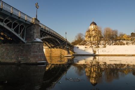 Zverynas Bridge and Znamenskaya Orthodox Church in Vilnius, Lithuania Stock Photo
