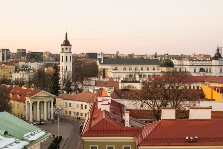 Lithuania  Vilnius in the evening Stock Photo