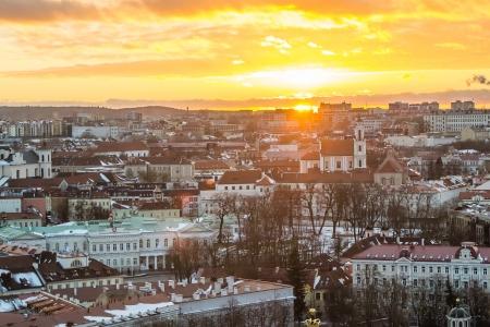 Winter sunset in Vilnius, Lithuania
