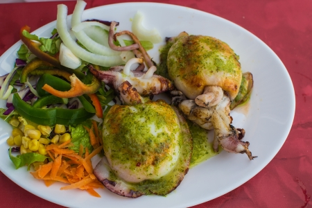 sapid: Grilled cuttle in restaurant of Tenerife, Canary Islands, Spain