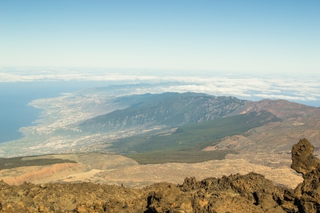 eruptive: The view from Teide volcano, in Tenerife, the Canary Islands, Spain Stock Photo
