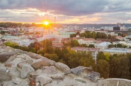 bird 's eye view: Autumn in Old Town of Vilnius, Lithuania  Bird s-eye view Stock Photo