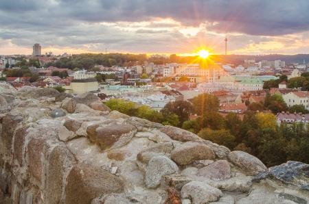 Autumn in Old Town of Vilnius, Lithuania  Bird s-eye view Stock Photo