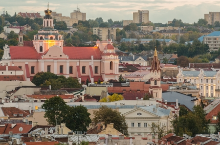 Autumn in Old Town of Vilnius, Lithuania  Bird s-eye view Editorial
