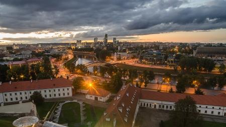 Autumn in Old Town of Vilnius, Lithuania  Bird s-eye view photo