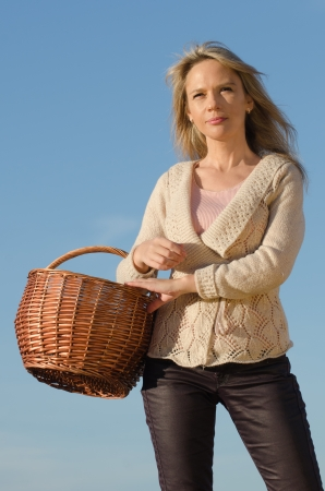 young pretty woman with basket