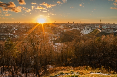 First days of winter in Vilnius, Lithuania  The sunset Stock Photo