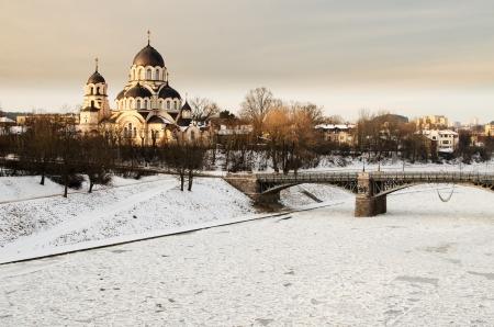 Vilnius  Lithuania  in the winter  Ice on Neris river  Znamenskaya Orthodox Church