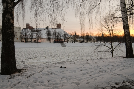 Vilnius  Lithuania  in the winter  Ice on Neris river   Gediminas Hill and Upper Castle  Stock Photo