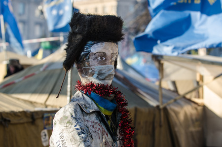 anti season: KIEV, UKRAINE  31 JANUARY 2014  Maidan protests on 31 January 2014 in Kiev, Ukraine