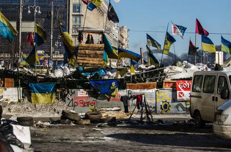 KIEV, UKRAINE  31 JANUARY 2014  Maidan protests on 31 January 2014 in Kiev, Ukraine