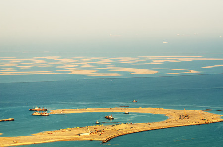 Dubai  United Arab Emirates   The World Islands  View from Burj Khalifa 스톡 콘텐츠