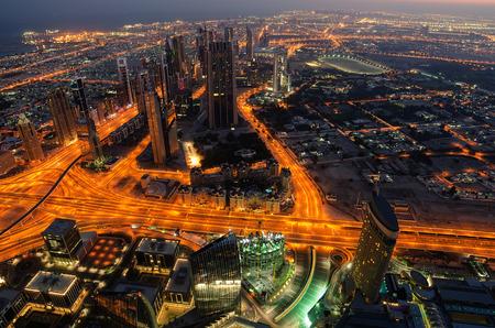 Downtown of Dubai  United Arab Emirates  at night  The view from Burj Khalifa photo