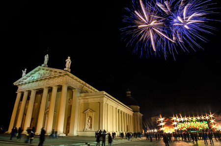 Fireworks on Independence Day of Lithuania near Vilnius Cathedral  photo