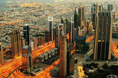 Downtown of Dubai  United Arab Emirates  at night Editorial