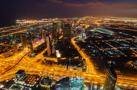 Downtown of Dubai  United Arab Emirates  at night Stock Photo