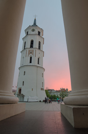 Sunset in Cathedral Square of Vilnius, capital of Lithuania photo