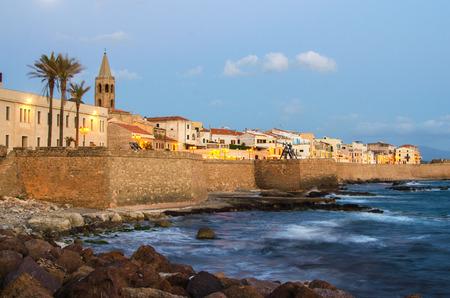 Alghero, Sardinia Island, Italy in the sunset  Defensive wall