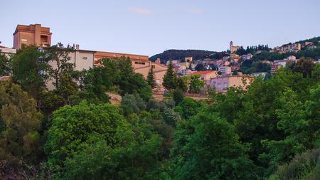 Mountain town - Lanusei  Sardinia, Italy  in the sunset photo