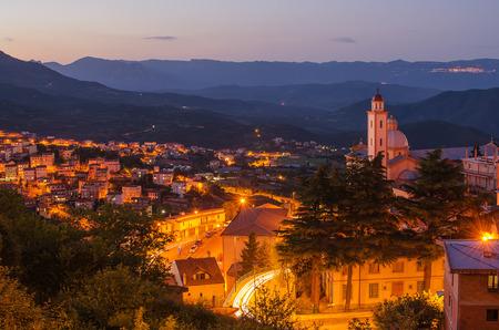 Mountain town - Lanusei  Sardinia, Italy  at night photo