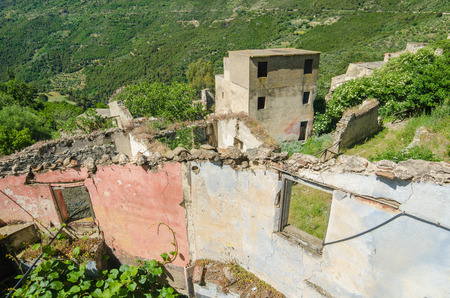 Ghost town Gairo Vecchio  Sardinia, Italy    Mountain village Old Gairo Vecchio was destroyed by a catastrophic alluvial flood in 1951  It was abandoned in 1963  So called Ghost Town is an interesting touristic attraction in Sardinia Island