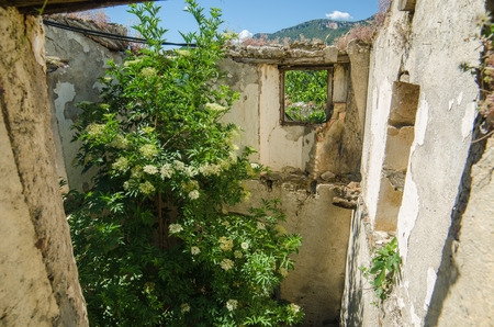 catastrophic: Ghost town Gairo Vecchio  Sardinia, Italy    Mountain village Old Gairo Vecchio was destroyed by a catastrophic alluvial flood in 1951  It was abandoned in 1963  So called Ghost Town is an interesting touristic attraction in Sardinia Island