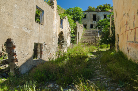 alluvial: Ghost town Gairo Vecchio  Sardinia, Italy    Mountain village Old Gairo Vecchio was destroyed by a catastrophic alluvial flood in 1951  It was abandoned in 1963  So called Ghost Town is an interesting touristic attraction in Sardinia Island