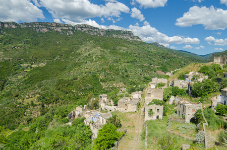 desolated: Ghost town Gairo Vecchio  Sardinia, Italy    Mountain village Old Gairo Vecchio was destroyed by a catastrophic alluvial flood in 1951  It was abandoned in 1963  So called Ghost Town is an interesting touristic attraction in Sardinia Island
