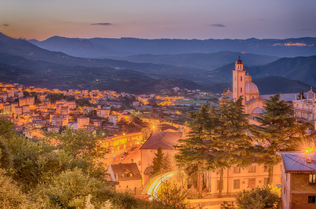 Mountain town - Lanusei  Sardinia, Italy  in the sunset photo
