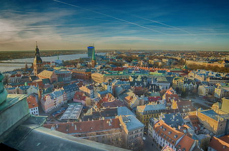 Old Town of Riga  Latvia   in the evening   The view from St Peter s Church