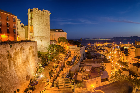 Old Town of Cagliari  Capital of Sardinia Island, Italy  in the sunset