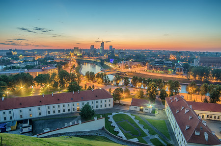 Aerial panorama of Vilnius, capital city of Lithuania