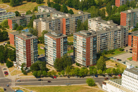 Aerial view of soviet era prefab houses in Karoliniskes, Vilnius, Lithuania 스톡 콘텐츠